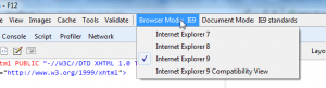 IE Developer Tools - F12
